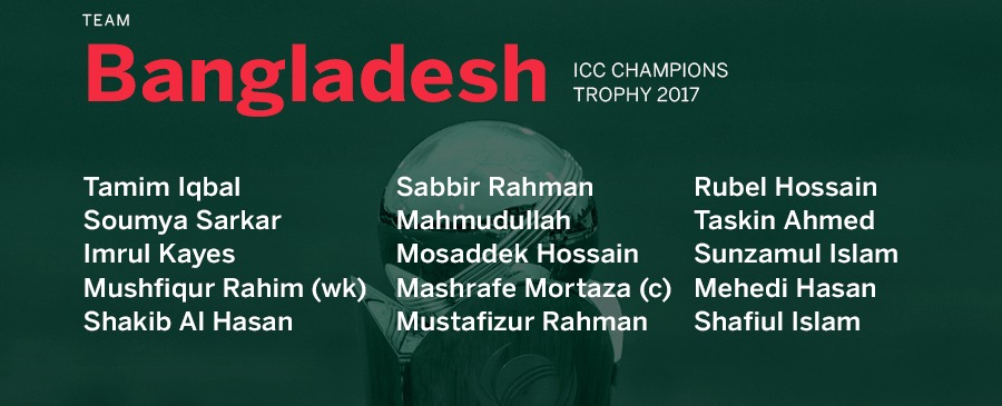Bangladesh Champions Trophy squad-2017