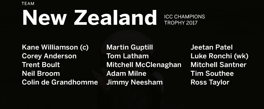 Black Caps Champions Trophy Squad 2017
