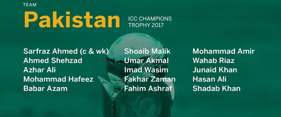 Pakistan's Champions Trophy Squad-2017