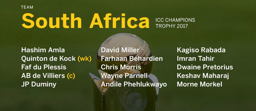 South Africas Champions Trophy Squad-2017