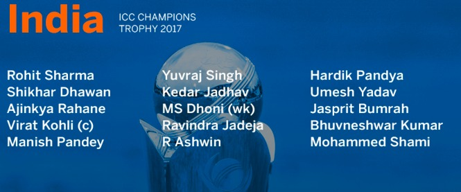 India Squad for the Champions Trophy -2017