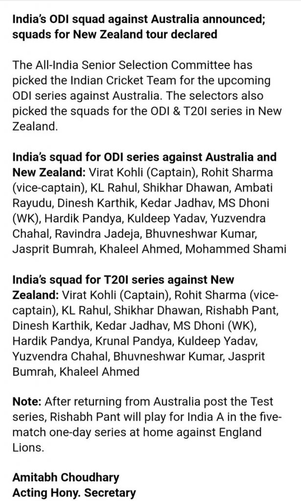 India Squad for Australia ODI Series 2019