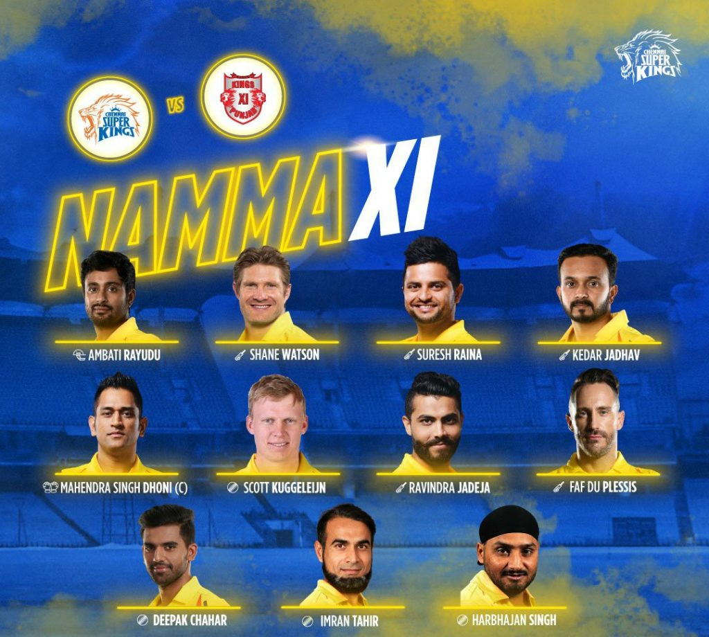 Chennai Super Kings Starting Line up vs Kings Xi Punjab