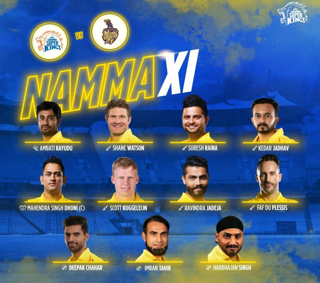 Chennai Super Kings Starting Line up vs Kolkata Knight Riders