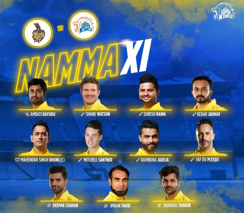 Chennai Super Kings starting line up against Kolkata Knight Riders-2019