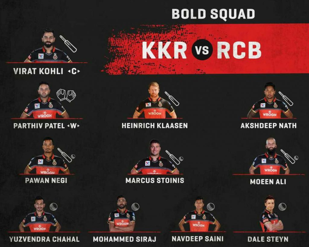 RCB starting line up vs KKR-2019