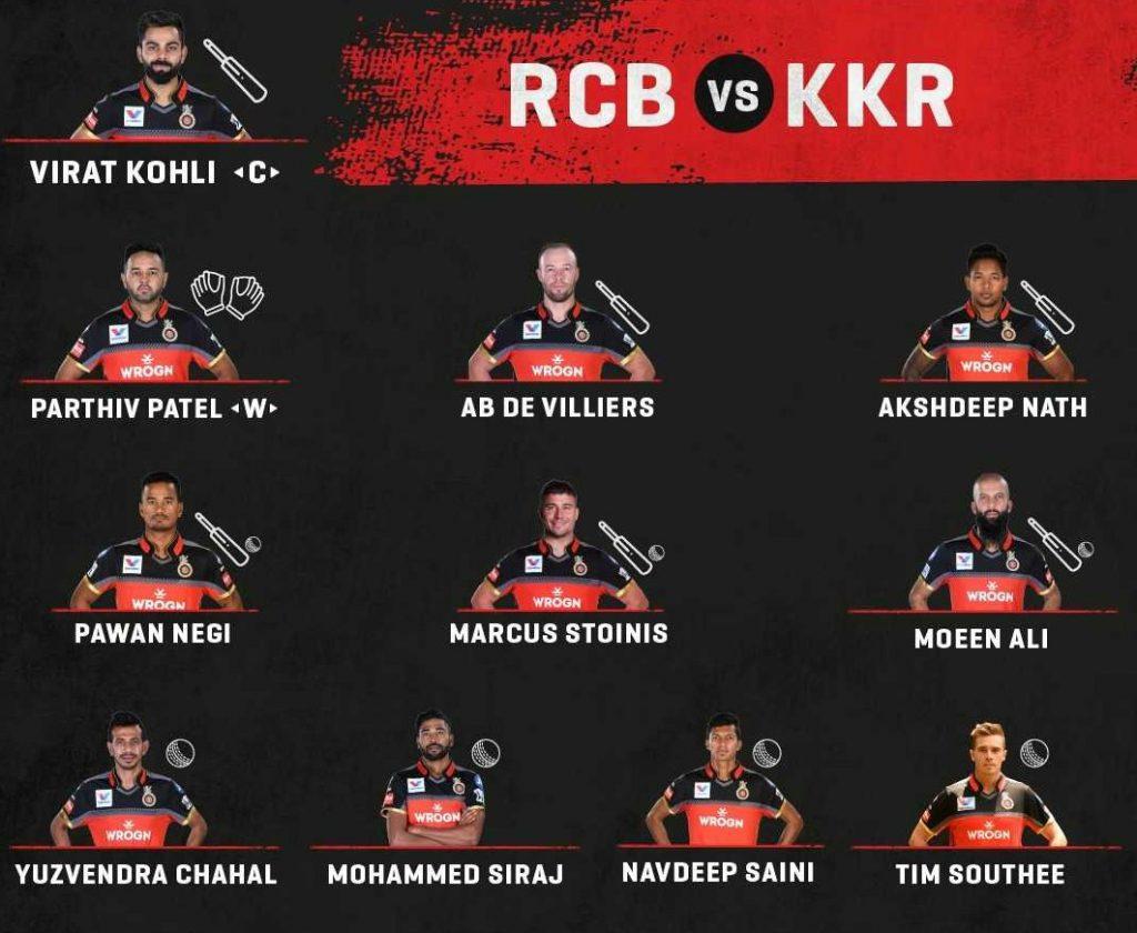 RCB starting lineup vs KKR 2019