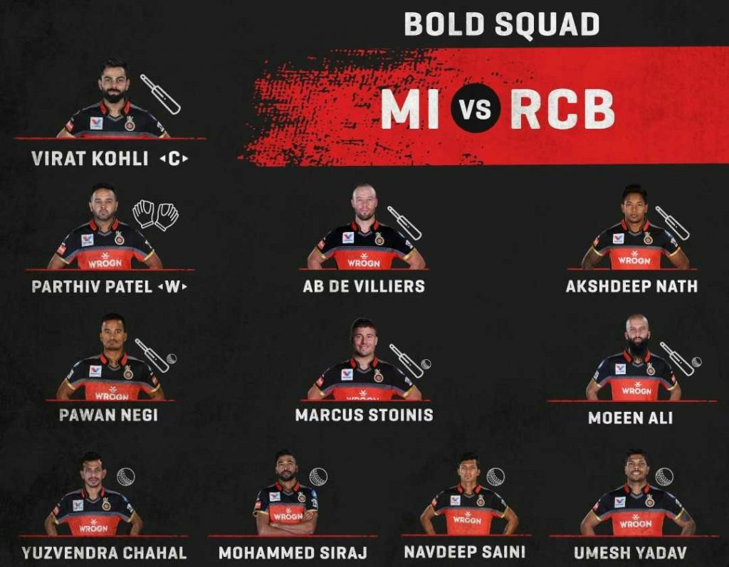 Royal Challengers Bangalore Starting line up against Mumbai Indians-2019