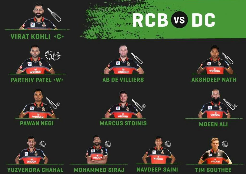 Royal Challengers Bangalore starting line up against Delhi Capitals-2019