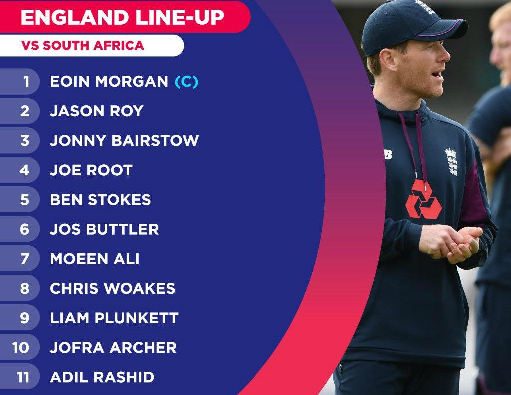 England lineup vs South Africa World Cup 2019
