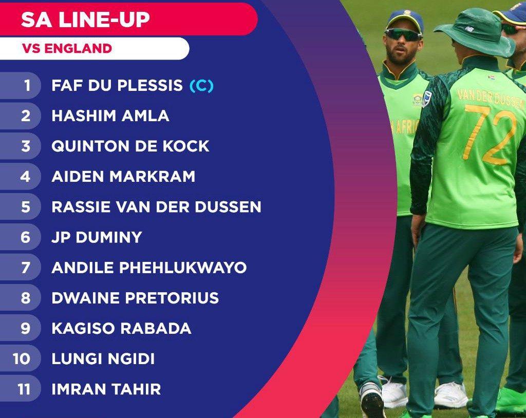 Proteas Lineup vs England 2019
