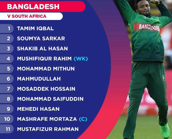 Bangladesh Starting Line Up vs South Africa-2019