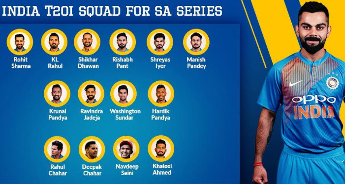India T20 Squad vs South Africa 2019