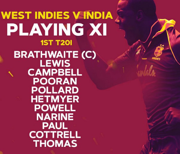 Windies T20 lineup vs India 2019