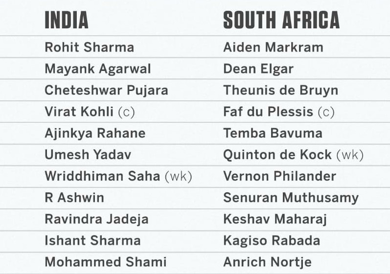 India line up against South Africa in the second test 2019