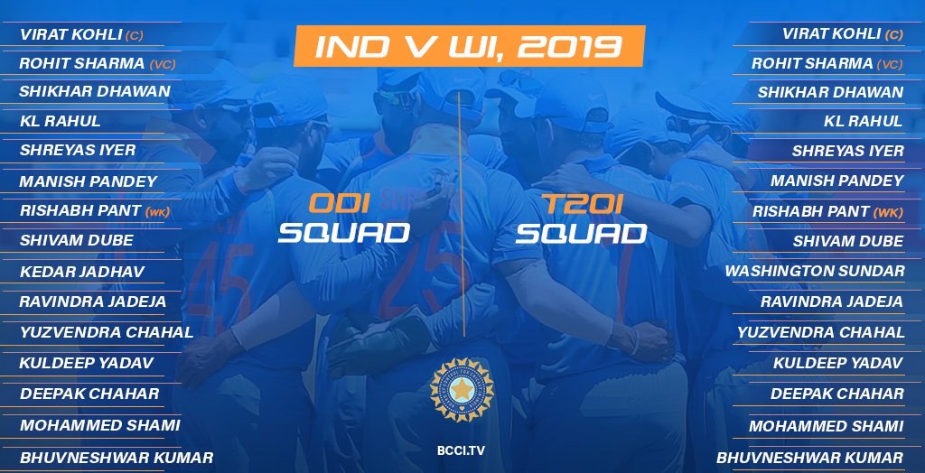 India Squad for West Indies ODI T20 Series 2019