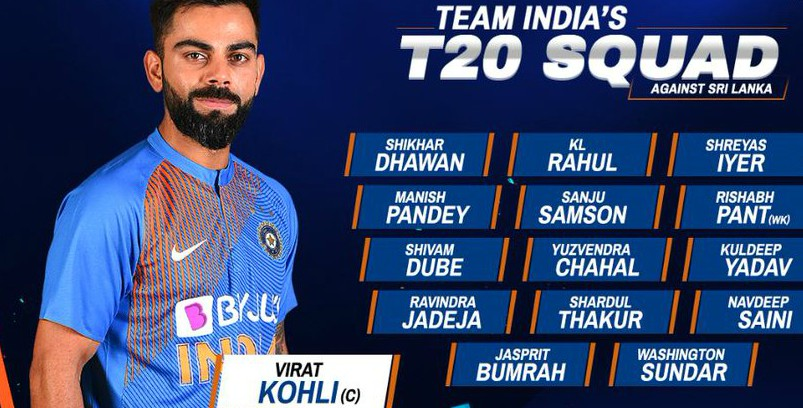 India T20 Squad vs Sri Lanka 2020