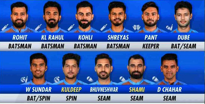 India's playing XI v West Indies 2019