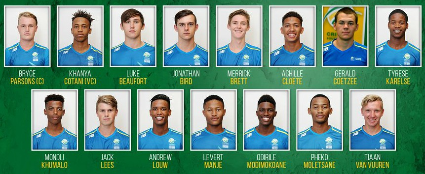 Proteas U19 Squad World Cup Cricket 2019