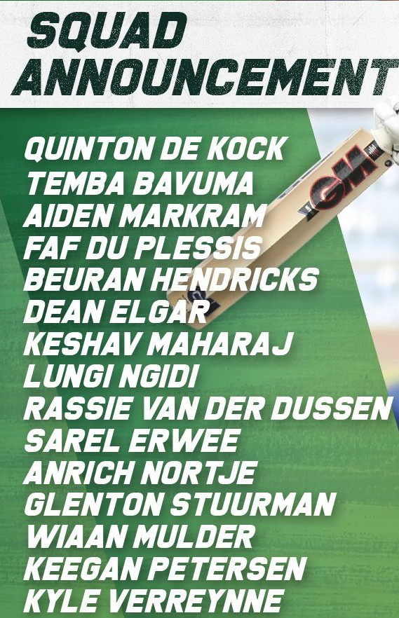 Proteas Test Squad for Sri Lanka Series