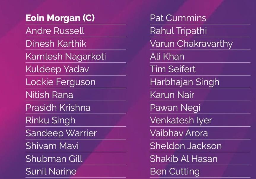 List of Kolkata Knight Riders IPL Squad 2021 (1)