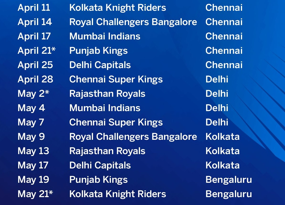 Sunrisers Hyderabad fixtures ipl 2021 (1)