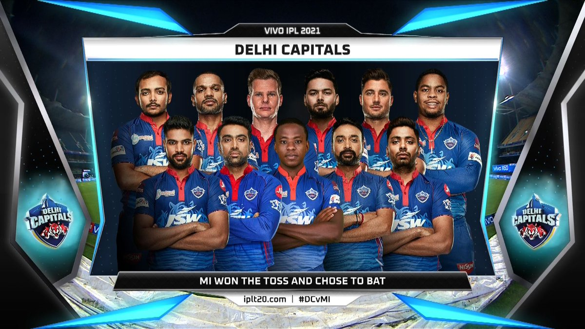 Delhi Capitals Playing XI vs Mumbai Indians 2021