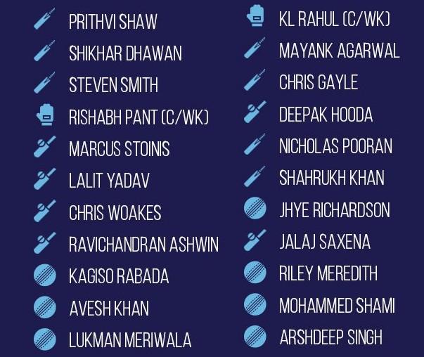 Delhi Capitals vs Punjab Kings Line ups (1)
