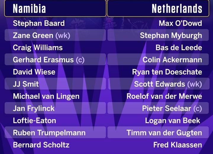 Namibia vs Netherlands Line Ups (1)